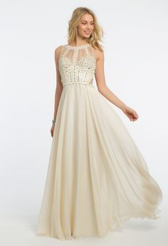 Make an enchanting statement in this dreamy evening gown! The illusion neckline, fitted beaded bodice, chiffon A-line skirt, and open back with lace-up and beaded back strap make this a flawless prom dress. Accessorize with silver heels, a rhinestone ring, and a silver clutch. #camillelavie