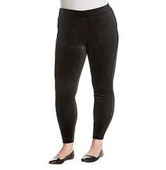 Ruff Hewn GREY Plus Size Foil Print Velvet Leggings