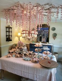 17 Beauty of a Cherry Blossom Theme Party - weddingtopia Cherry Blossom Decor, Cherry Blossom Party, Tattoo Cherry Blossoms, Idee Baby Shower, Baby Girl Shower Themes, Shower Party, Bridal Shower, Chinese New Year Decorations, Quinceanera Party