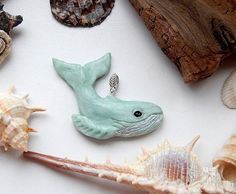 Blue whale pendant I made of polymer clay, waxed cord. The size of the whale is about 6 cm or 2.36 inches.  In stock!  Can be offered its own version!  Keith symbolizes strength, happiness,...
