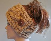 Knitted Cable Braided Headbands with Button Earwarmers Spring Fall Winter Accessories Headcovers Womens Girls Headwraps