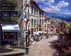 Digital Art - Quaint Streets From Nice France. by Rafael Salazar Ocean Wallpaper, City Wallpaper, Painting Wallpaper, Watercolor Painting, Painting Canvas, Modern Art Prints, Wall Art Prints, Canvas Prints, France Art