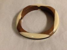 Bangle Bracelet Wood Plastic Brown Black Off White Vintage #Unbranded #Cuff