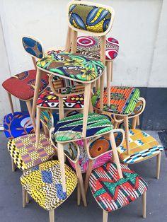 Le bon mix ! Des chaises rétro rhabillées avec du tissus wax africain.