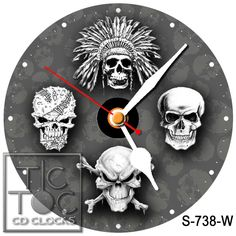 eBlueJay: S-738-W CD CLOCK FOUR SKULLS WITH WHITE HANDS