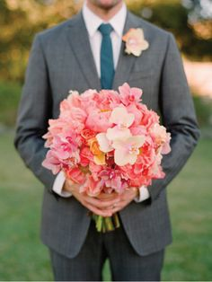 Bridal Bouquet of Coral peonies, tea roses, mini phalaenopsis. My dream bouquet! Coral Wedding Flowers, Flower Bouquet Wedding, Floral Wedding, Pink Flowers, Purple Orchids, Cream Flowers, Bridal Bouquets, Wedding Colors, Bouquet Champetre