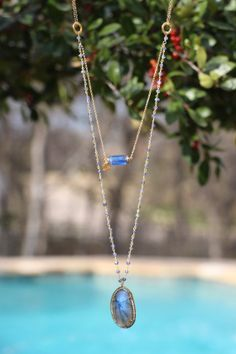 Long Labradorite Multi Layer Necklace w Diamond Bezeled Pendant, Necklace, Pave Diamonds on Sterling, Layering Statement Necklace