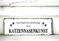 Shabby Vintage Holz Schild KATZENNASENKUNST von homestyle-accessoires via dawanda.com