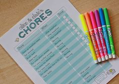 free printable download chore charts - slip in protective plastic holder and use Expo markers to check off over and over