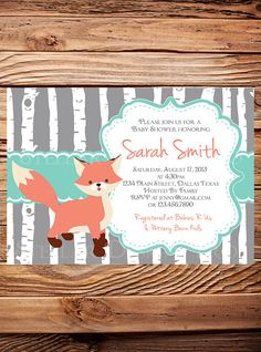 Fox Baby shower Invitation, Woodland, Fox, Birch, Gray, Teal, Owl, Baby shower invite, 1580 by StellarDesignsPro on Etsy https://www.etsy.com/listing/265111676/fox-baby-shower-invitation-woodland-fox