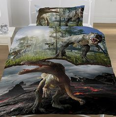 This Jurassic Dinosaur Single Quilt Cover and pillowcase set is perfect for little dinosaur fans! Animal Print Bedding, Duvet Bedding Sets, Single Quilt, Spinosaurus, Quilt Cover Sets, Detailed Image, Bed Covers, T Rex, Backdrops