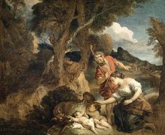 Image: Charles de la Fosse - Romulus and Remus.  The twin brothers are nursed by a wolf since their vestal virgin mother, and daughter of the rightful king, Rhea Silvia, placed them in the woods.  When they grow up, they kill the usurper king and restore their grandfather, Numitor to the throne.  After Remus is killed, Romulus founds Rome.