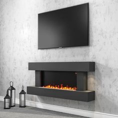 Newest Pic large Electric Fireplace Concepts AmberGlo Grey Wall Mounted Electric Fireplace Suite with Log & Pebble Fuel Bed Wall Mounted Fireplace, Fireplace Built Ins, Home Fireplace, Modern Fireplace, Living Room With Fireplace, Fireplace Design, Tv Mount Over Fireplace, Farmhouse Fireplace, Fireplace Ideas