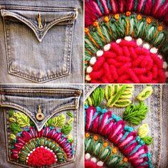 Mira qué bueno que quedo mi jean, te dejo el antes y el después!!! Te animas? Te enseño a customizar tu ropa, jean, sweaters, camisas o lo…