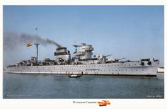 """Spanish heavy cruiser """"Canarias"""" in c.1937-39 shows a example of how the unusual early Spanish navy ship superstructures design."""