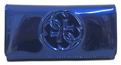 GUESS Womens Korry Patent Slim Clutch Wallet Indigo *** Click image for more details. Branded Wallets, Guess Handbags, Coin Bag, Clutch Wallet, Evening Bags, Indigo, Crossbody Bag, Slim, Stuff To Buy