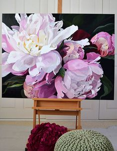 Oil Painting Flowers, Watercolor Flowers, Piones Flowers, Artistic Visions, Flower Artists, Victorian Flowers, Flower Canvas, Rose Art, Art Graphique