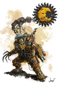 Ork Klan:Bad Moons by Musibat-Khan Warhammer 40k Art, Warhammer Models, Warhammer 40k Miniatures, Space Fantasy, Fantasy Art, Orc Armor, Orks 40k, Tyranids, Fantasy Creatures