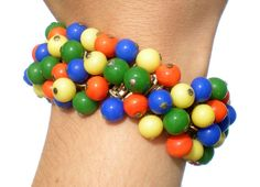 Colorful Glass Beaded Bracelet Cha-Cha Adjustable by RibbonsEdge