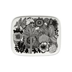 Made of white stoneware, this small rectangular plate depicts healthy flowers in bloom. It's dishwasher, microwave, and freezer safe; glazed colors and pattern remain vibrant. 15 x 12 cm (approx x Marimekko, Side Plates, Small Plates, Apple Watch Wallpaper, Plate Design, Small Furniture, Blooming Flowers, Textile Artists, Scandinavian Design