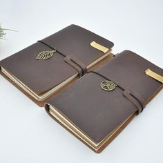 Leather Notebook Journal with Charm, Organizer and Bookmark