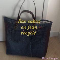 Roze pompon: #DIY Un joli sac cabas en jean recyclé !Tuto.