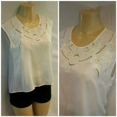 """FOREVER 21 Embroidered and Lace Sheer Top M FOREVER 21 Embroidered neckline and Lace Back Shoulder Yoke, Sheer Top, size M, Hi-Lo, keyhole button closure center back neck, sleeveless, lightweight feminine material, machine washable,  sheer white 100% rayon,  lace and embroidered 51 cotton,  22"""" length front shoulder to hem, 26"""" length shoulder tohem, 21"""" bust laying flat, 4 1/22 length back shoulder lace Forever 21 Tops"""