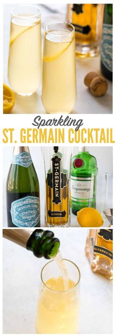 A bright and refreshing St. Germain cocktail made with St. Germain, gin or vodka, fresh lemon, and topped with Prosecco or champagne. Easy and perfect for brunch, a special date night in, and parties! #stgermain #cocktail #champagne #gin #vodka via @wellplated