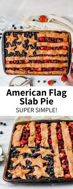 This American Flag Slab Pie is a fun baking project that is much easier than it looks, using store-bought pie crust! Filled with sweet blueberries and strawberries, it's a perfect 4th of July dessert recipe that will feed the whole family. Serve with vanilla ice cream for a red, white, and blue treat. Totally vegan! #4thofjuly #veganpie #slabpie #berrypie #easydessert #party #blueberrypie #cherrypie #flagdessert #redwhiteandblue #plantbased #flag #usa #baking #simplerecipe Best Vegan Desserts, Best Vegetarian Recipes, Vegan Dessert Recipes, Dairy Free Recipes, Pie Recipes, Easy Desserts, Whole Food Recipes, Vegan Pie, Vegan Food
