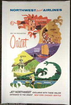 Original Travel Poster Northwest Orient Hong Kong Korea Taiwan Japan Philippines #Vintage