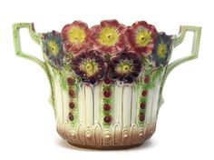 ON SALE 15%OFF Onnaing Majolica Cache Pot in Printania Pattern Number 783. Art Deco Cache Pot. Ceramic Garden Urn.  Antique French Jardinier
