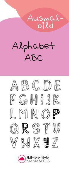 Kostenloses Ausmalbild Alphabet ABC. Malvorlage für Kita, Vorschule und Grundschule. Freebie!