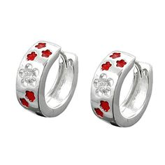 An adorable pair of hoop earrings with several red lacquered flowers on its surface. One of the flowers is adorned with zirconia elements, which gives the pair an elegant touch. Silver silver sterling silverclasp: wiringprice per 1 pair Luxury Jewelry, Handmade Jewelry, Hoop Earrings, Wedding Rings, Pairs, Engagement Rings, Elegant, Silver, Red