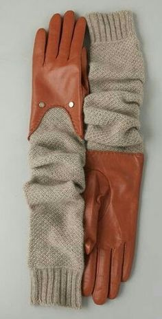 Could be done with repurposed sweater sleeves and a pair of gloves: Original - Diane von Furstenberg Victoria Long Gloves Fashion Mode, Diy Fashion, Ideias Fashion, Womens Fashion, Gloves Fashion, Fashion Accessories, Long Gloves, Leather Gloves, Refashion