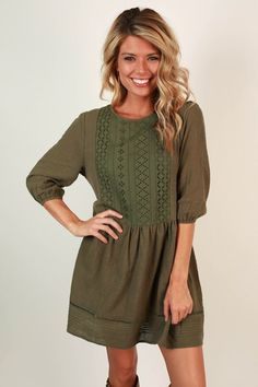 Boho Divine Shift Dress in Army Green