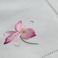 Embroidered Pink Orchid Table Runner