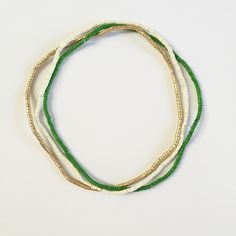 Image of Ivory, Green & Gold Tahiti Multi-Strand Necklace