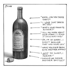Wine bottle with eight things to say at different levels of intoxication - New Yorker Cartoon Premium Giclee Print
