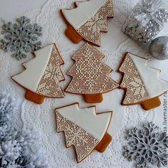 Елочки кружевные белые - белый,пряник,Пряники имбирные,новогодний подарок