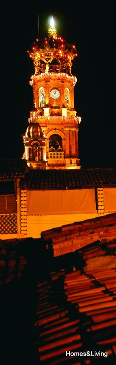 Night view of the Our Lady of Guadalupe Parish in downtown Puerto Vallarta.     Puerto Vallarta's parish Nuestra Señora de Guadalupe is a city icon, it dominates Vallarta's downtown skyline and is one of the favorite symbols and landmarks of the city, both in photos, shirts, logos and postcards.    Read more: http://www.puertovallarta.net/what_to_do/our-lady-of-guadalupe-church.php    #vallarta #puertovallarta #churches