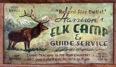 Elk Camp Hunting Vintage Wood Sign at AllPosters.com