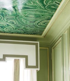lacquered wall in Saxon Green by Farrow and Ball and trimmed molding in gold // ceiling painted a #malachite mural #green #lacquered
