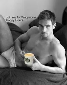 Coffee in bed? Is that how we should wake up? Frappuccino may be? Or BeefCake and Coffee in bed? #Food #Drink #Sexy