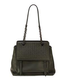 V2QBT Bottega Veneta Intrecciato Large Flap Satchel Bag, Light Gray