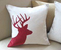red deer pillow | Holiday Deer Pillow Cover, Christmas Red Corduroy Stag Applique ..., I would maybe want different colors like tan and green deer