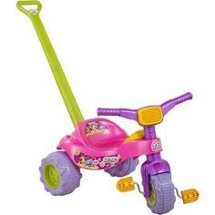 Triciclo Magic Toys Tico Tico Baby Monsters Rosa, diversão para sua filha.    Duas formas de brincar: com haste para empurrar a criança e pedal para uma diversão eletrizante.