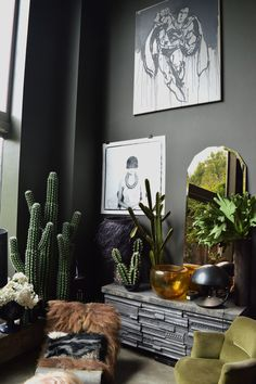 Abigail Ahern's living space | Hannah in the house. What is that funky table made out of??