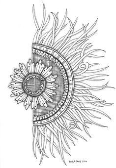 sun flower doodle/ half a mandala! Tangle Doodle, Tangle Art, Zen Doodle, Doodle Art, Zentangle Drawings, Doodles Zentangles, Zentangle Patterns, Doodle Drawings, Doodle Inspiration