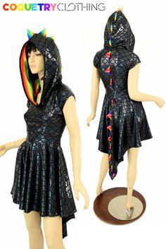 9a067f50 Black Dragon Hoodie Skater Dress – Coquetry Clothing Dragon Hoodie, Dragon  Tail, Dragon Scale