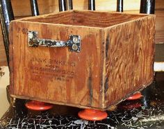 OOAK  FOOTED CADDY Wooden Box metal handles by JunqueInTheTrunque, $25.00
